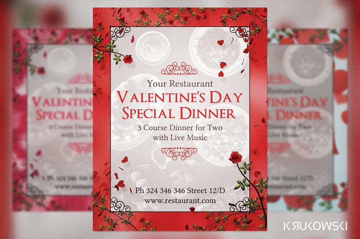 Valentine Day Dinner Two Flyer Templates