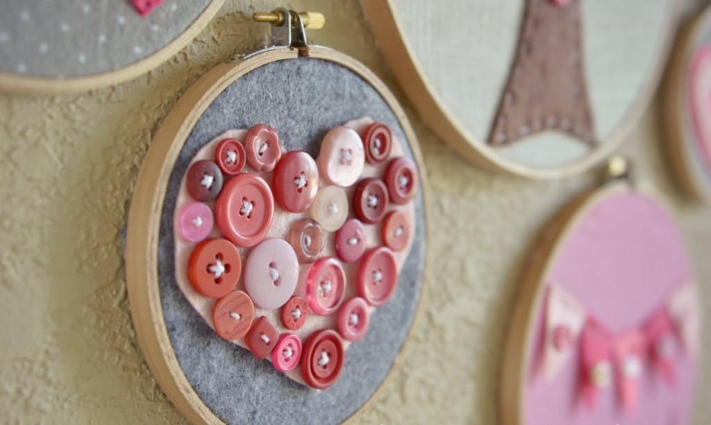 Valentine Day Embroidery Hoop Art Simple