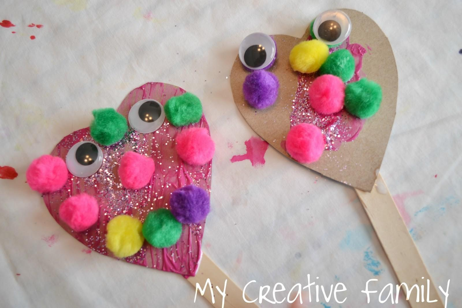 Valentine Day Heart Puppets Craft Preschool Education