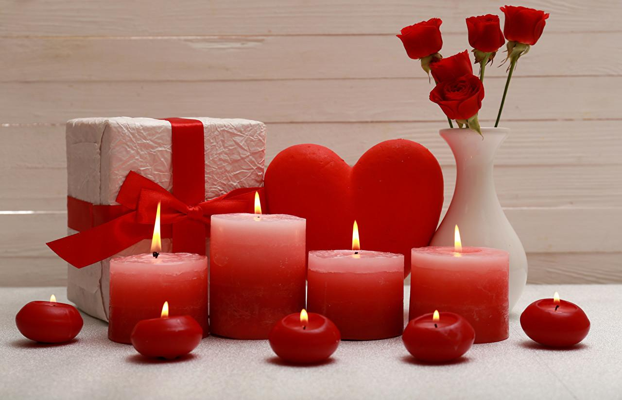 Valentine Day Heart Roses Gifts Vase Candles