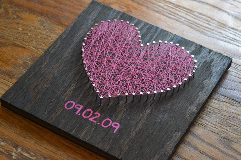 Valentine Day Heart String Art Choose Date