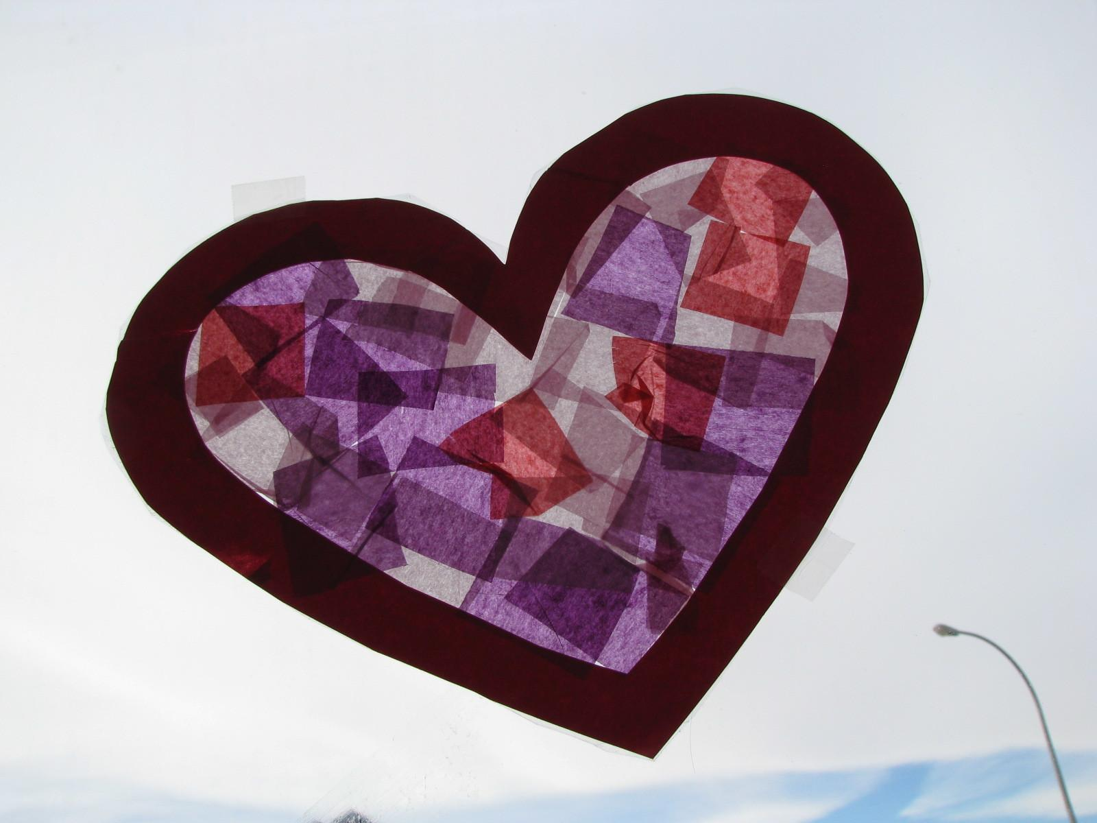 Valentine Day Heart Sun Catcher Craft Preschool