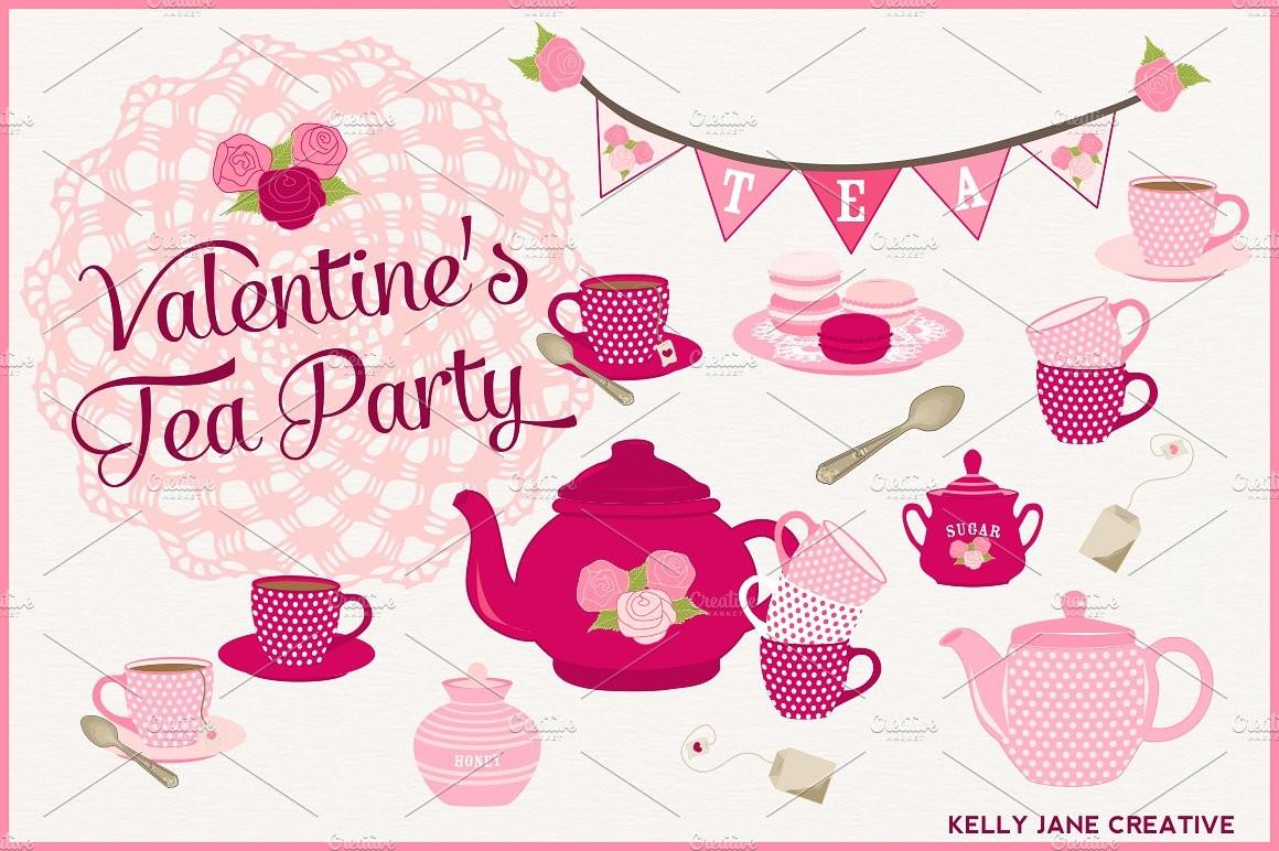 Valentine Day Tea Party Illustrations Creative Market