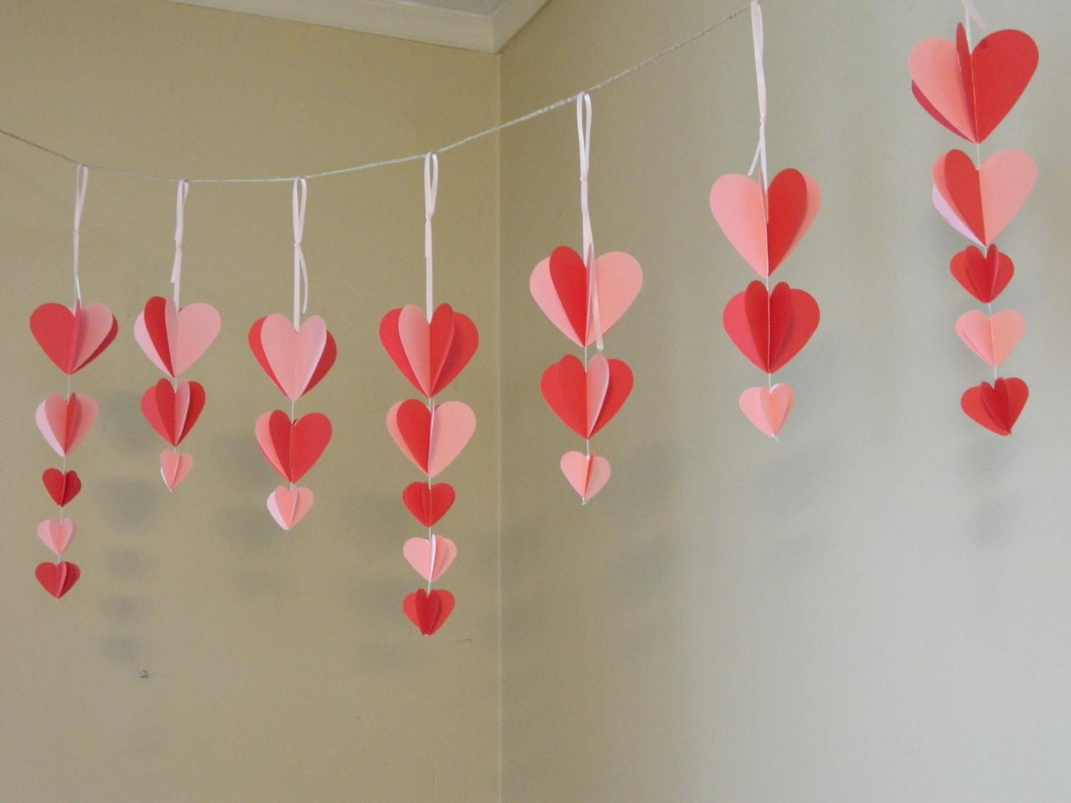 Valentine Decorations Paper Heart Garland Pink