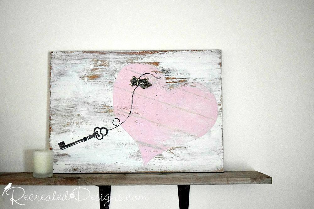 Valentine Diy Art Pink White Paint Key Vintage Hardware