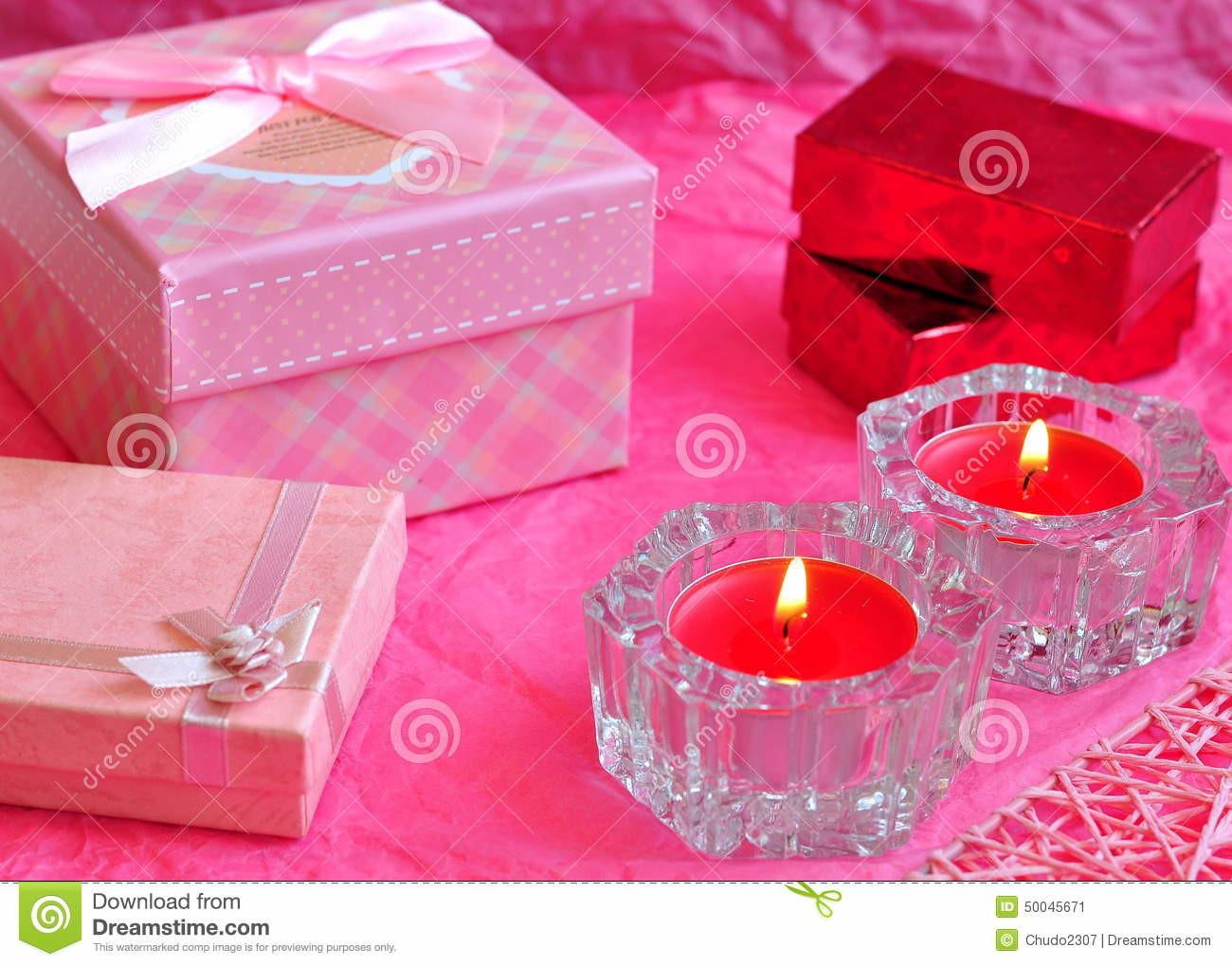 Valentines Day Card Concept Valentine Gift Candles