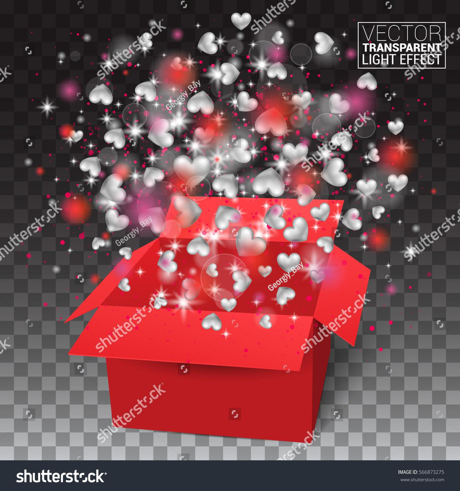 Valentines Day Isolated Surprise Gift Box Stock Vector