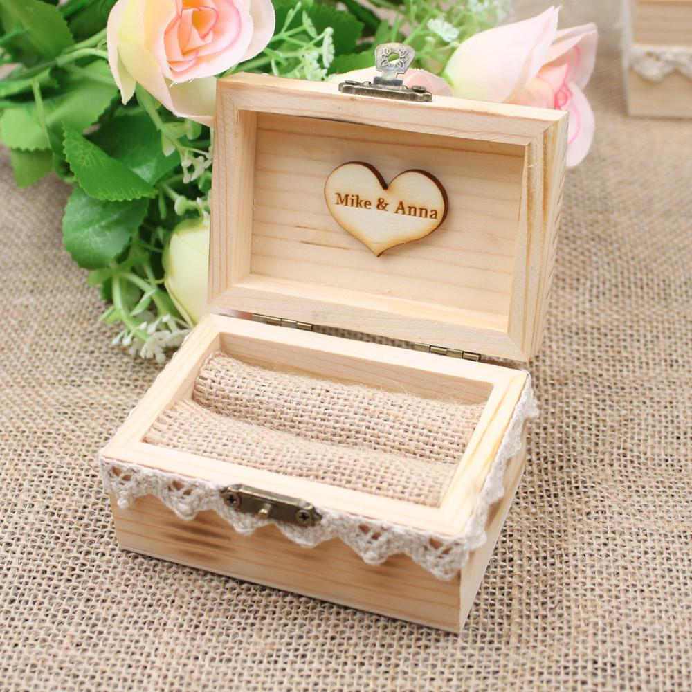 Valentines Engagement Lace Wooden Ring Bearer Box Rustic