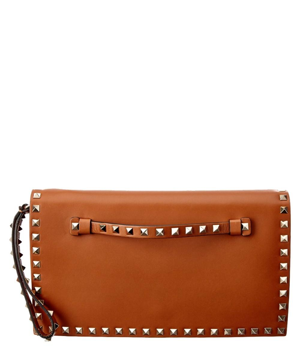 Valentino Rockstud Leather Flap Clutch Bluefly