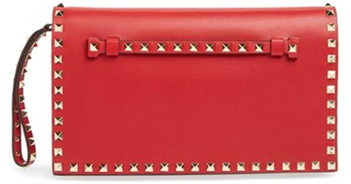 Valentino Rockstud Nappa Leather Flap Clutch Red Lyst