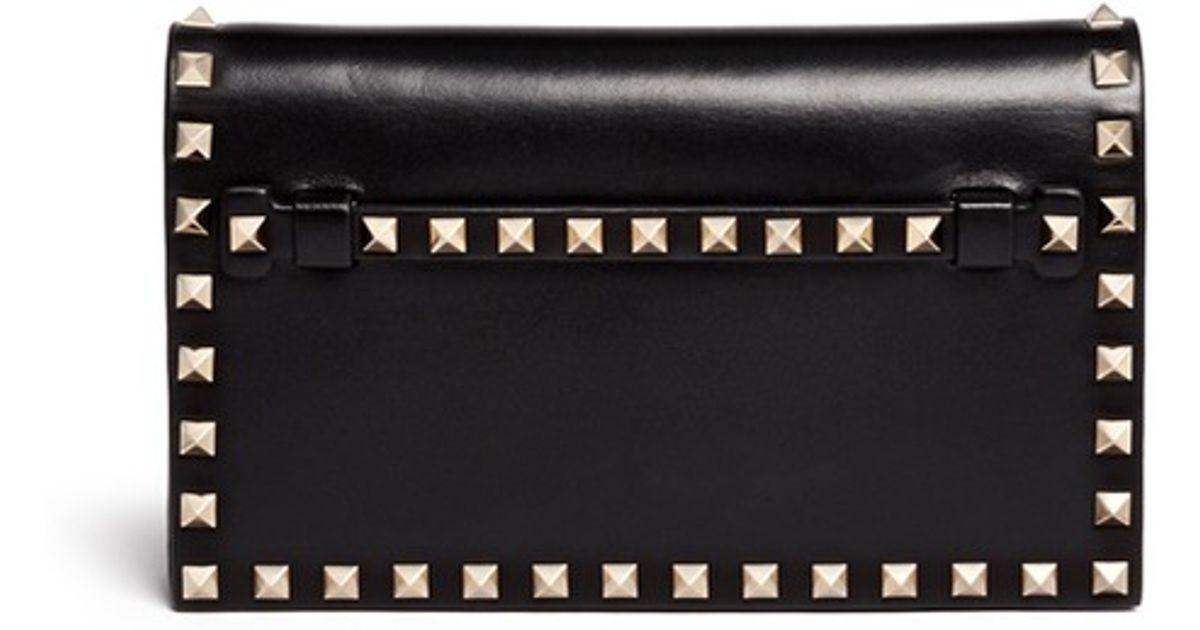 Valentino Rockstud Small Leather Flap Clutch Black Lyst