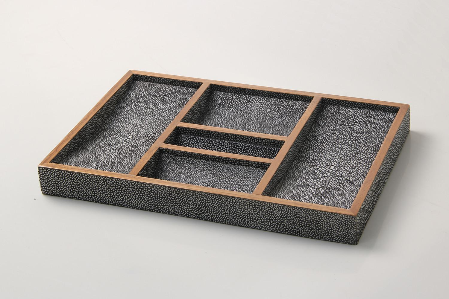 Valet Tray Charcoal Shagreen Forwood Design
