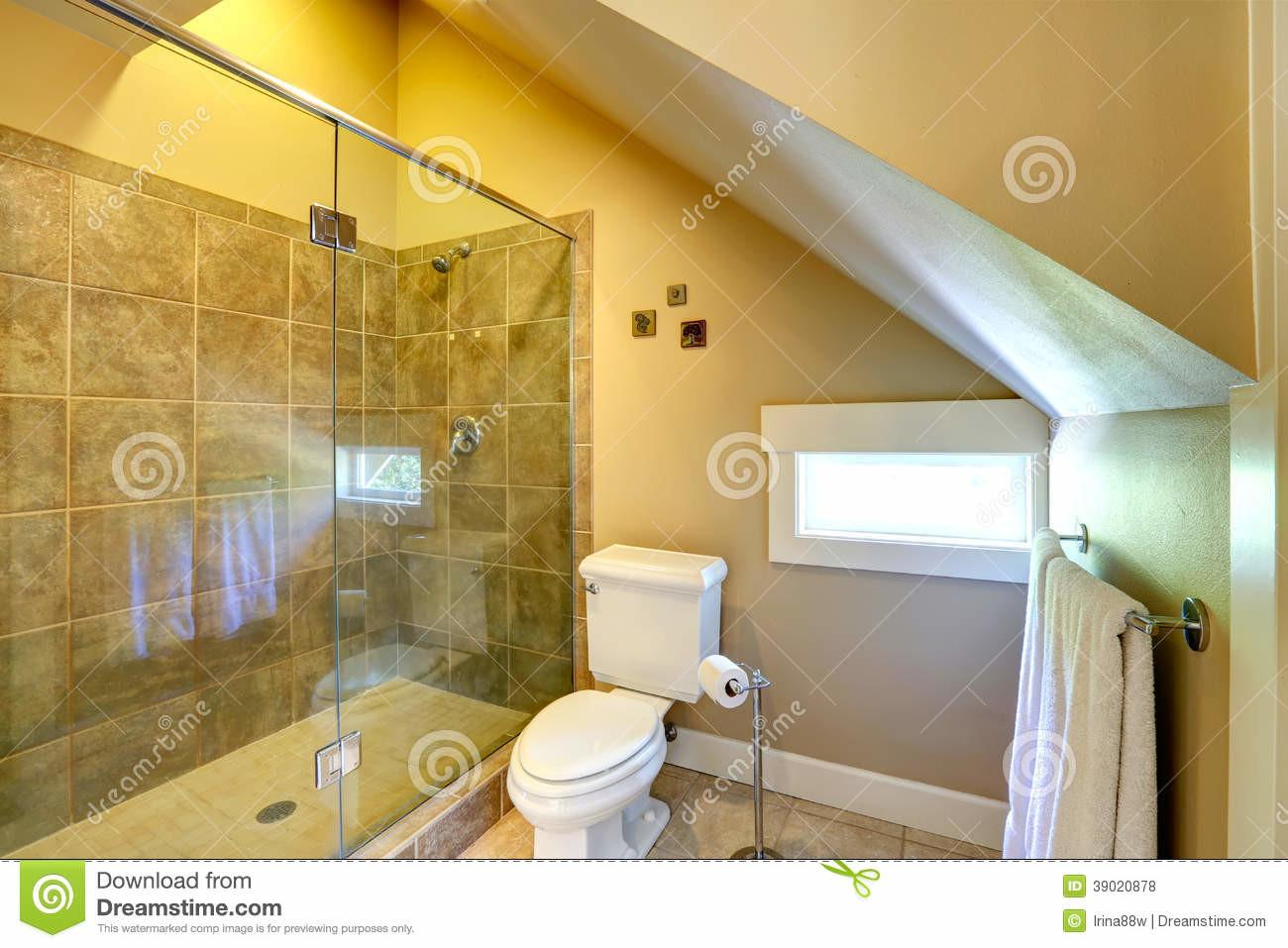 Vaulted Ceiling Cozy Bathroom Stock