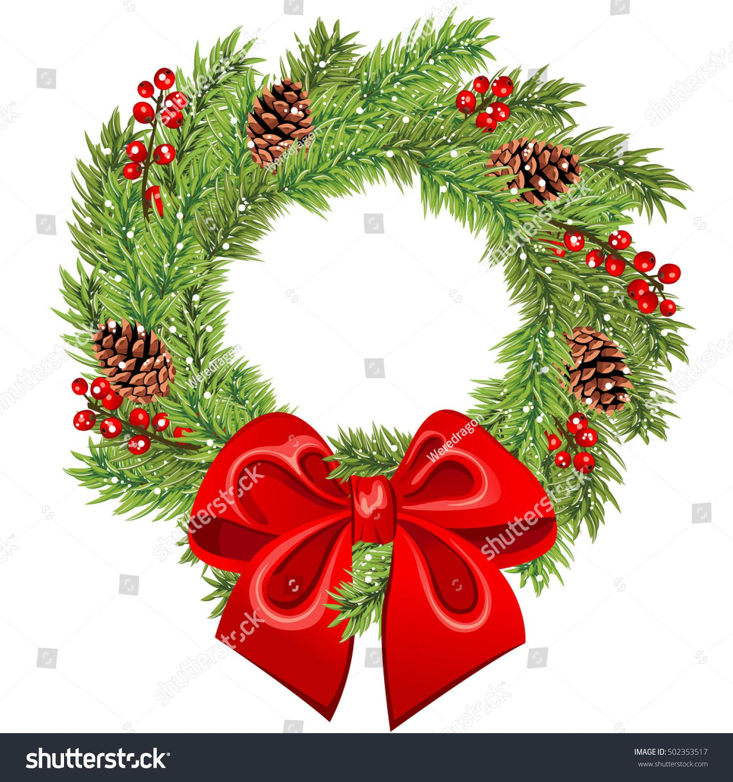 Vector Christmas Wreath Red Bow Holly Stock