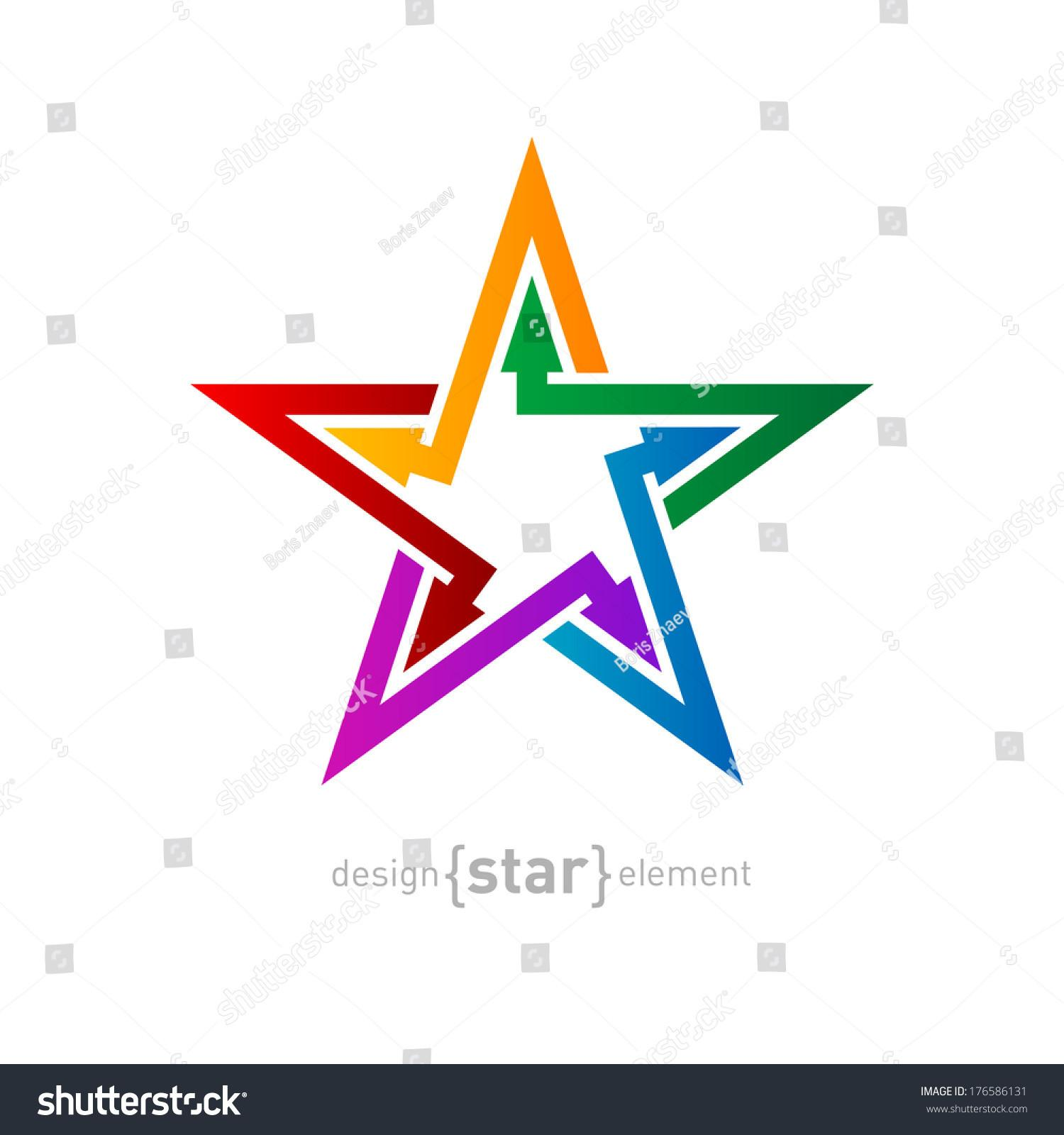 Vector Colorful Star Arrows Abstract Design Stock