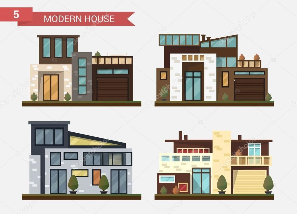 Vector Flat Illustration Traditional Modern House
