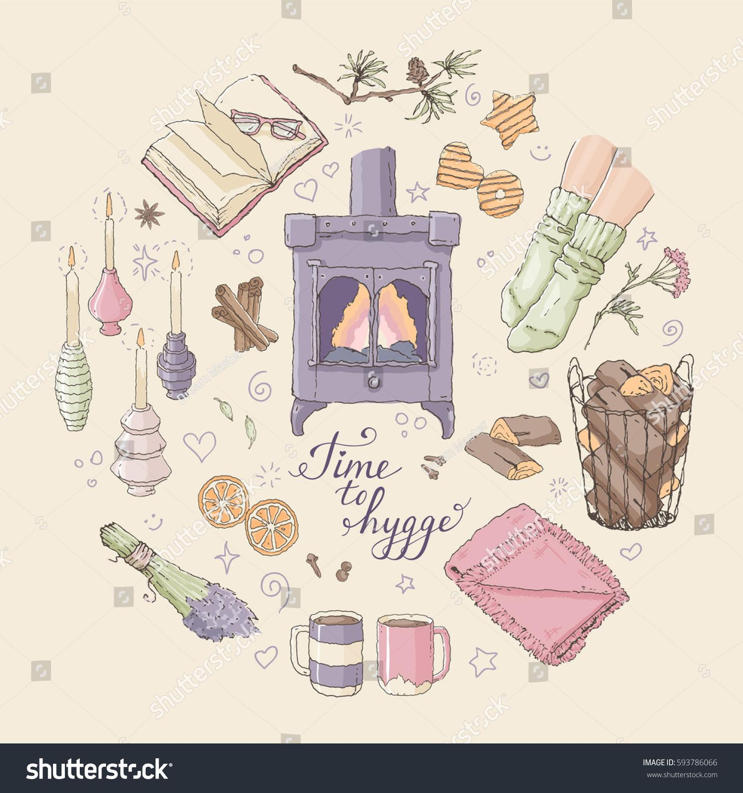 Vector Illustration Time Hygge Lettering Cozy Stock