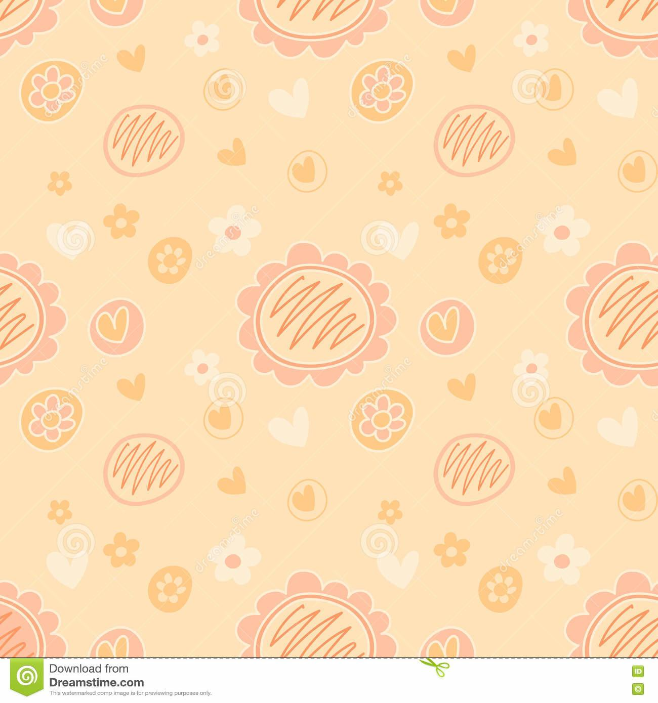 Vector Lovely Feminine Floral Pattern Peach
