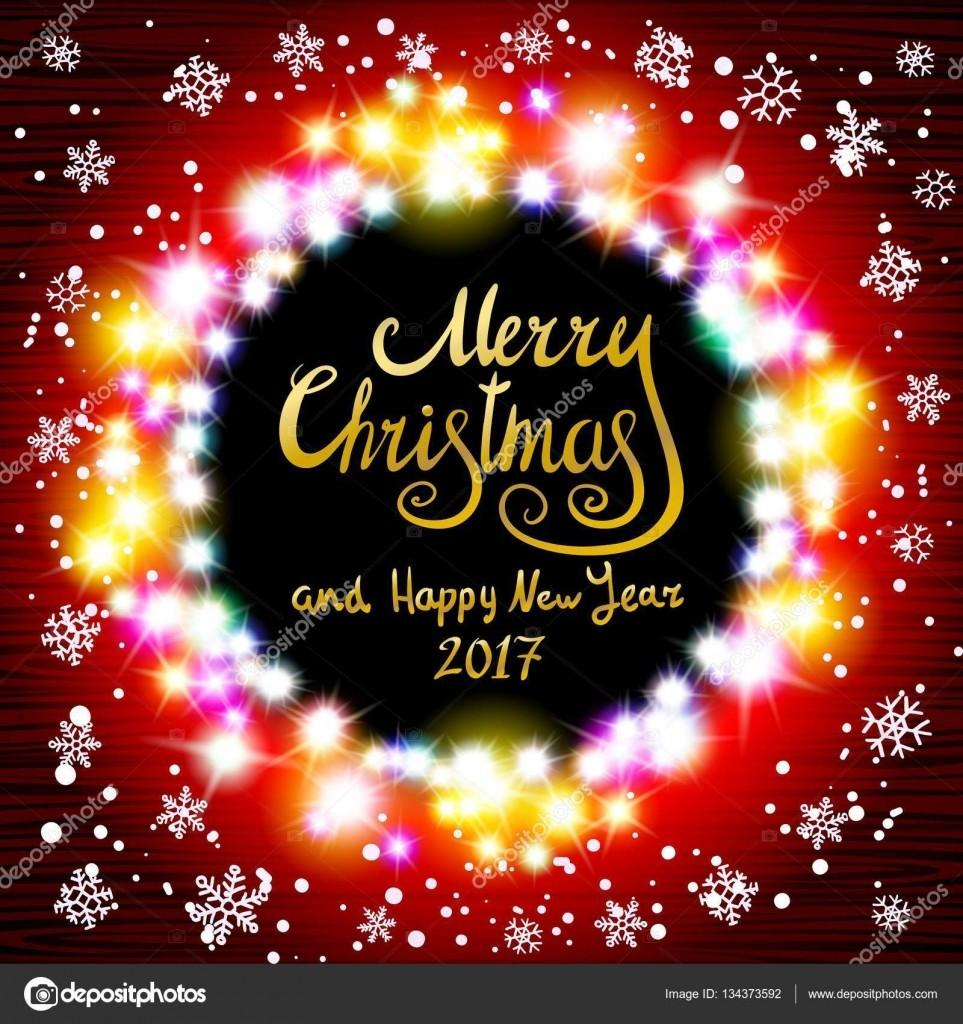 Vector Merry Christmas Happy New Year 2017 Glowing