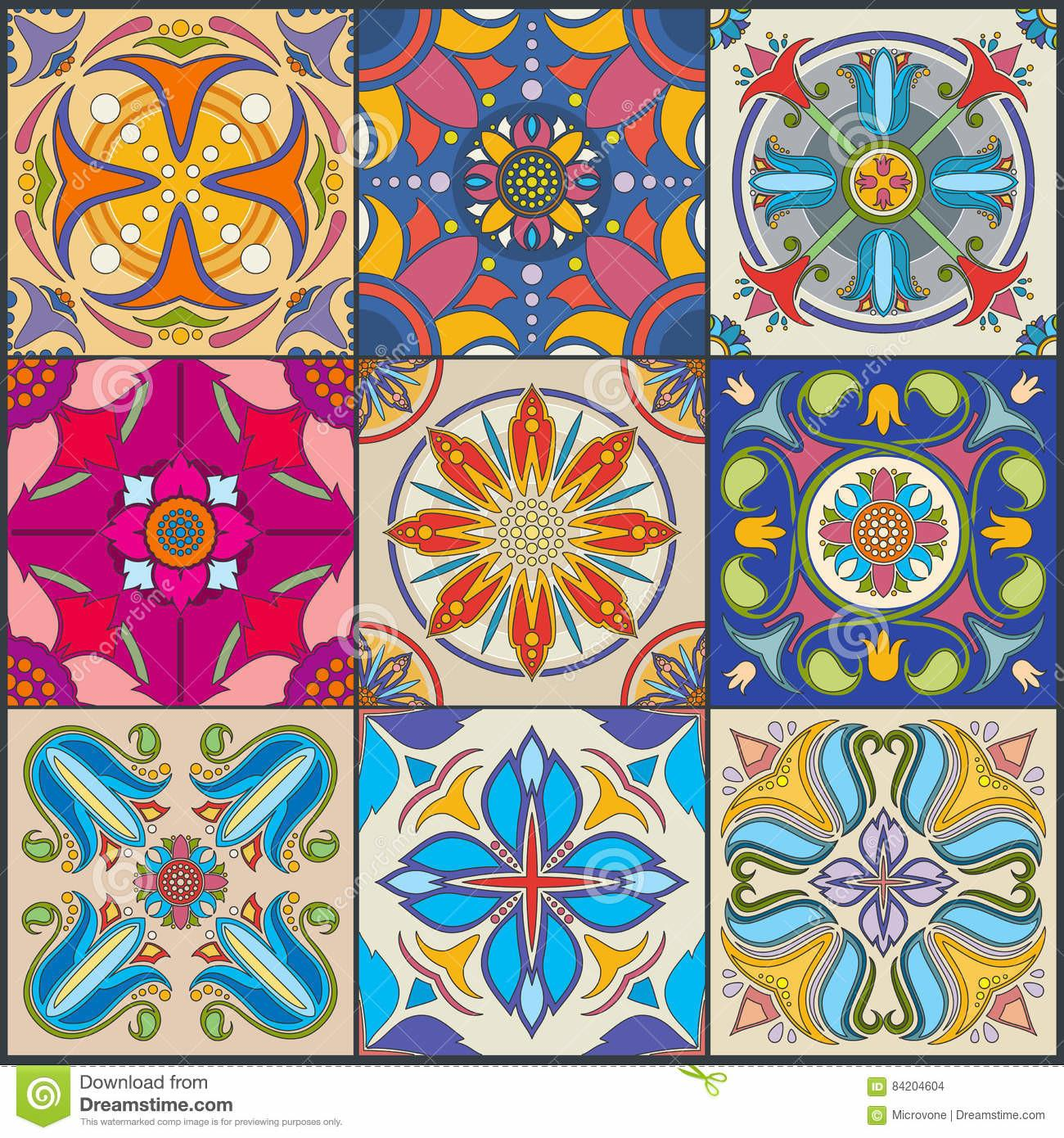 Vector Patchwork Seamless Wall Tile Pattern Ceramic