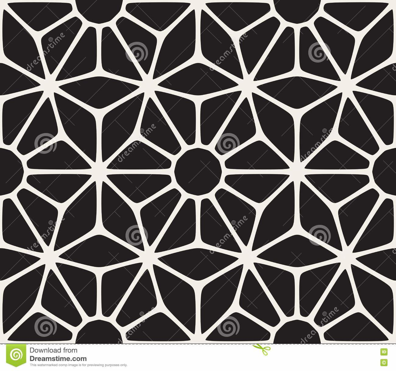 Vector Seamless Black White Lace Floral Pattern Stock