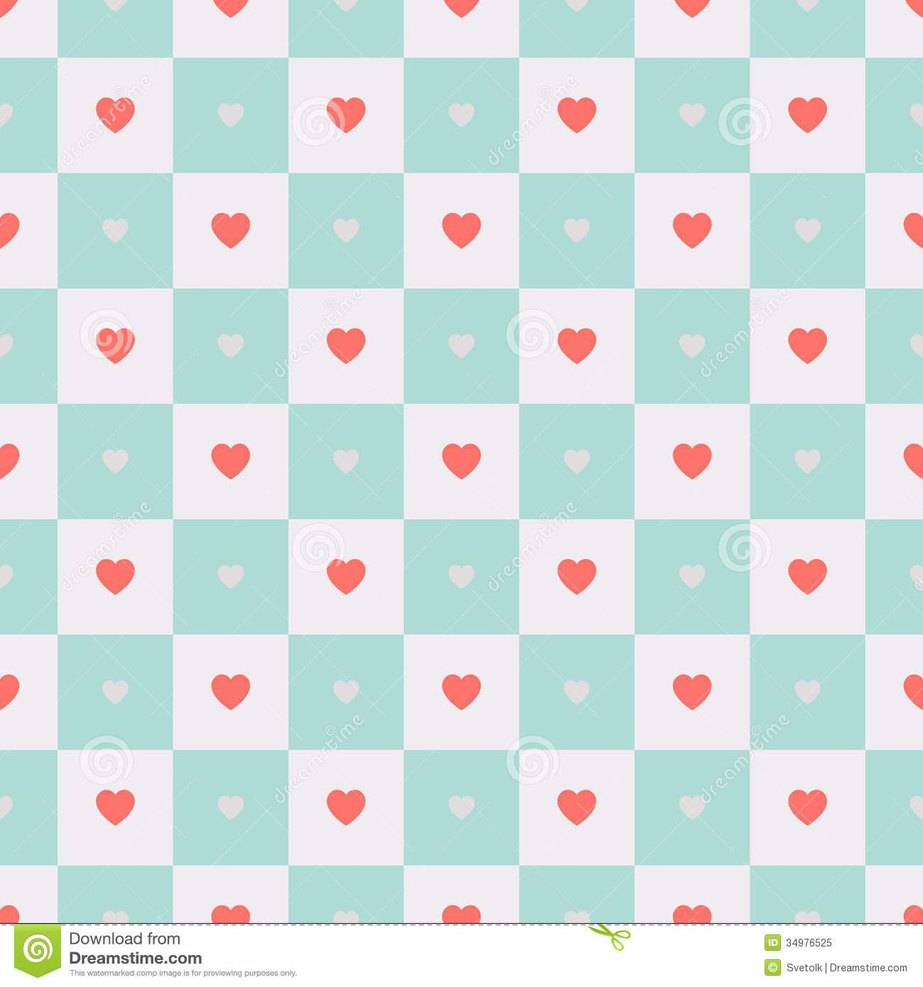 Vector Seamless Retro Pattern Hearts Stock