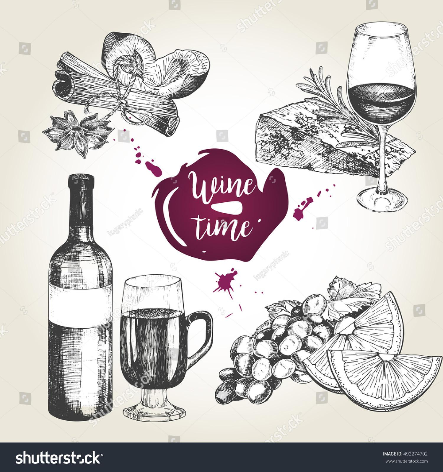 Vector Set Wine Appetizers Bottle Glass Stock