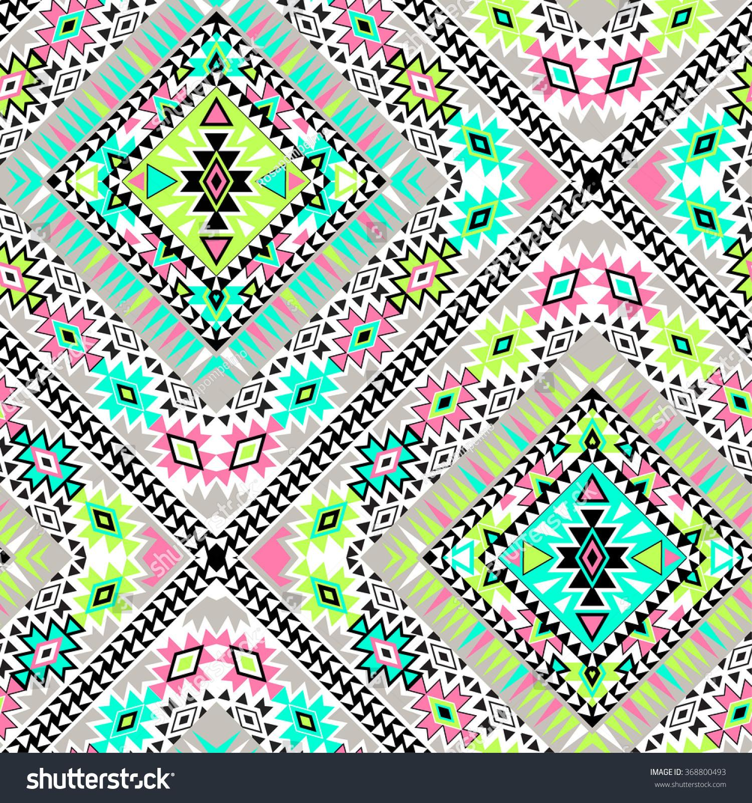 Vector Tribal Aztec Seamlesss Patterns Neon Colors