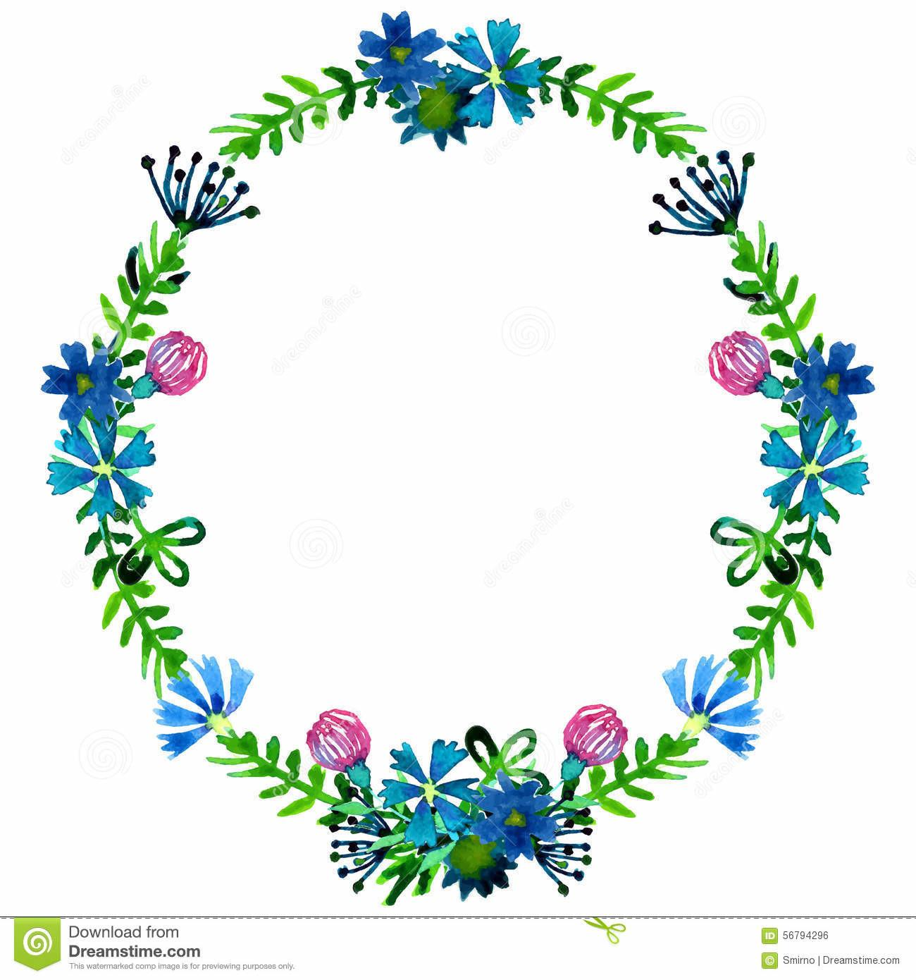 Vector Watercolor Colorful Floral Wreaths Summer