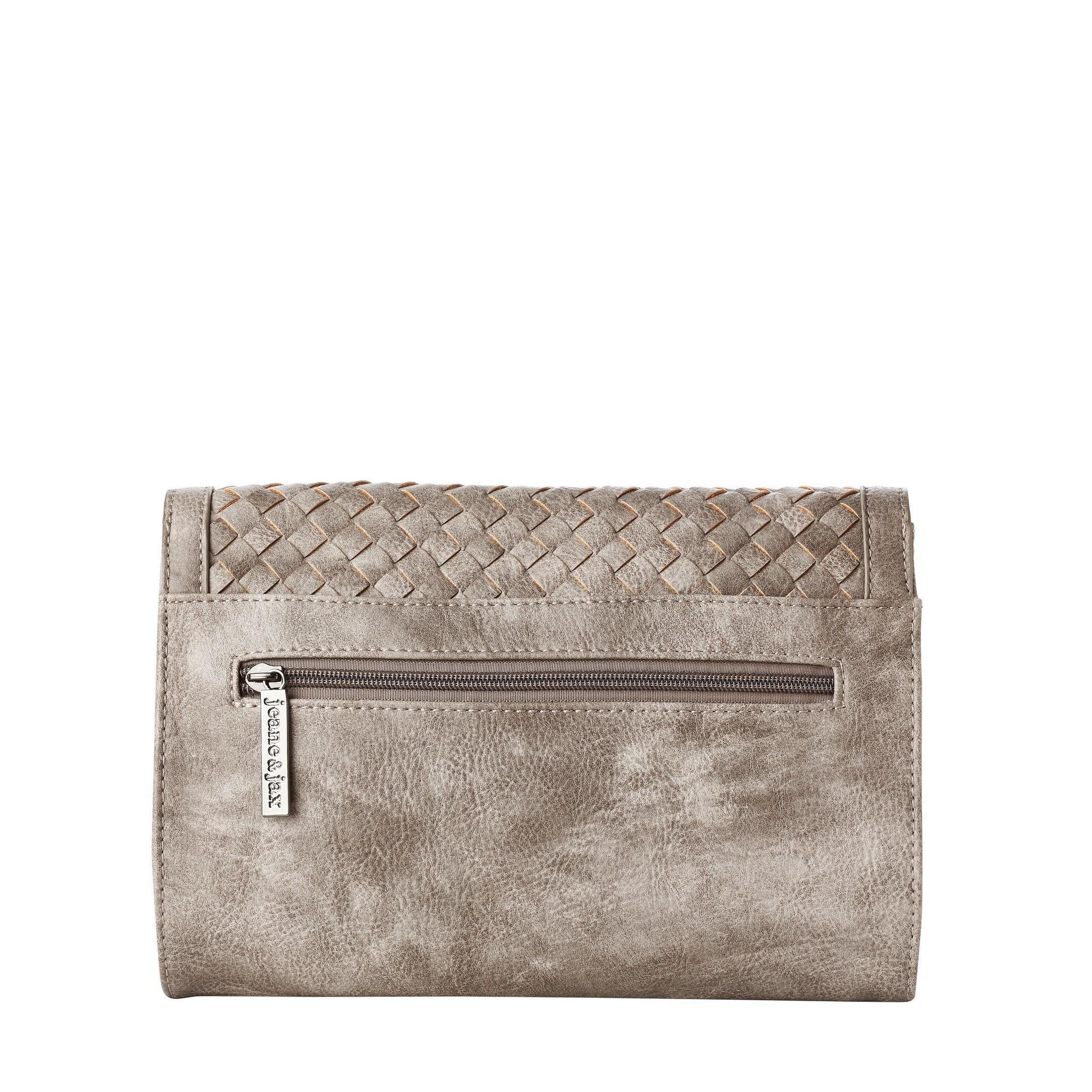 Vegan Leather Woven Flap Clutch Jeane Jax