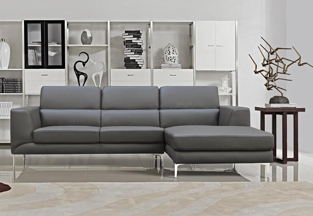 Versa Grey Leather Modern Sectional
