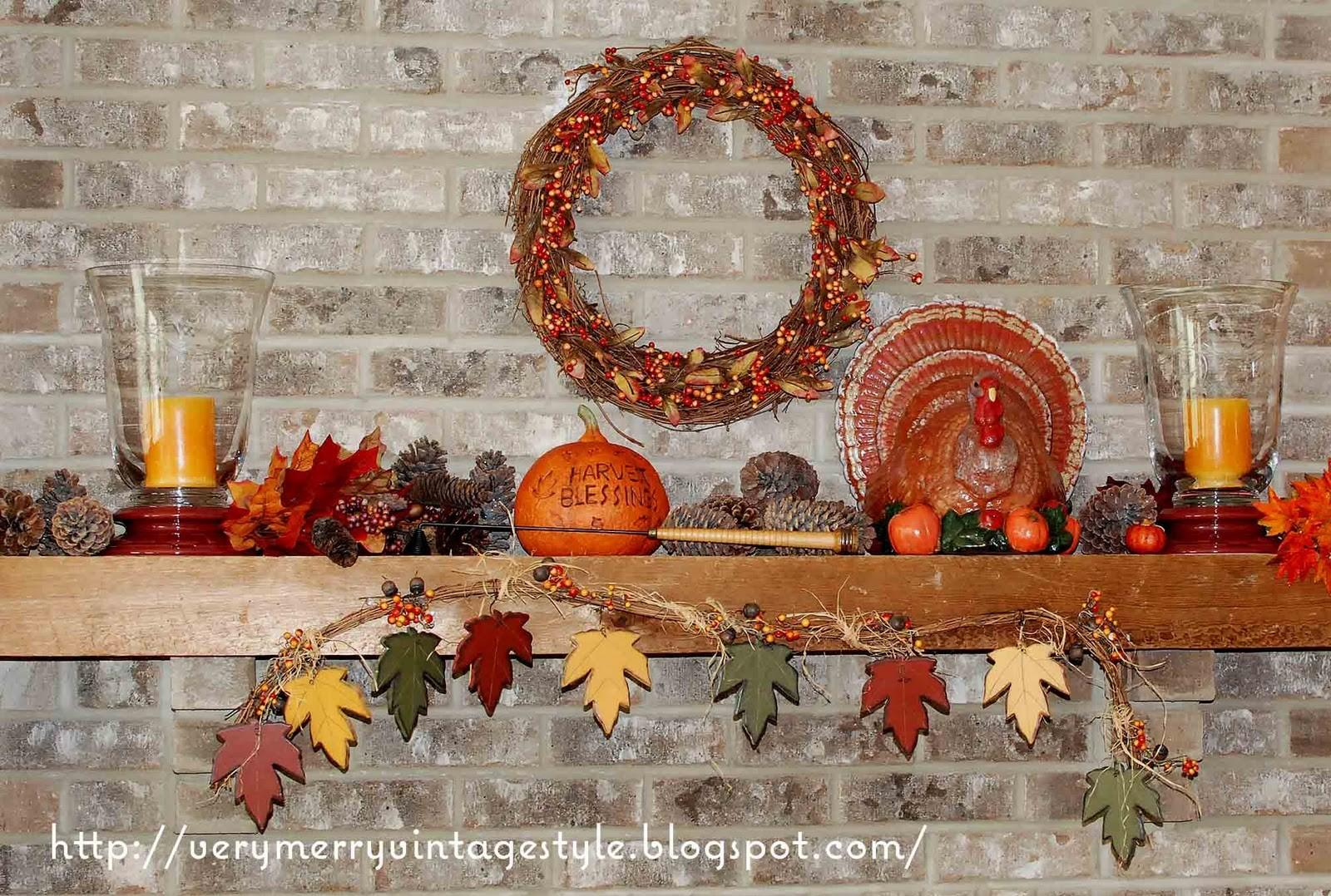 Very Merry Vintage Syle Thanksgiving Mantel Idea