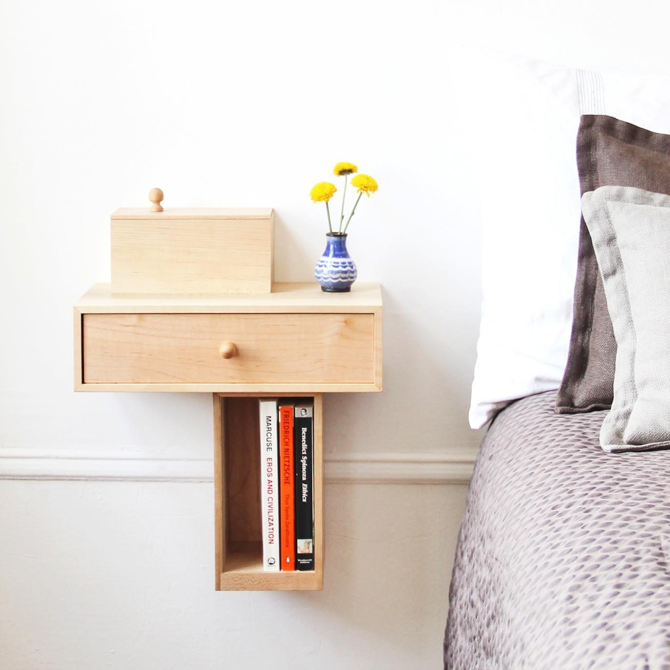 Very Small Diy Custom Modern Floating Bedside Nightstand