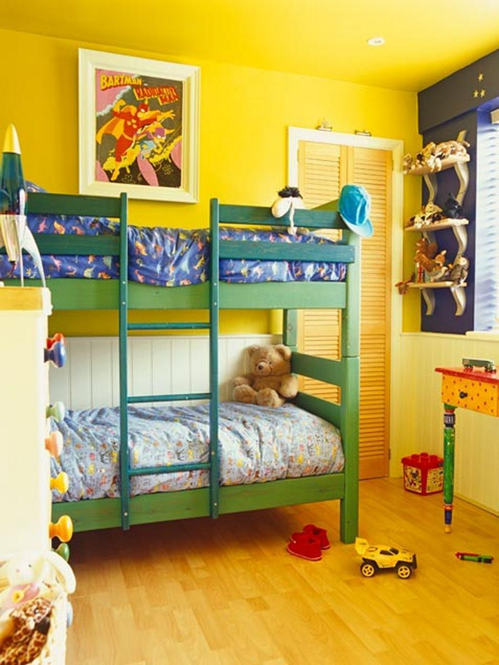 Vibrant Yellow Shared Kids Bedroom Green Bunk Bed