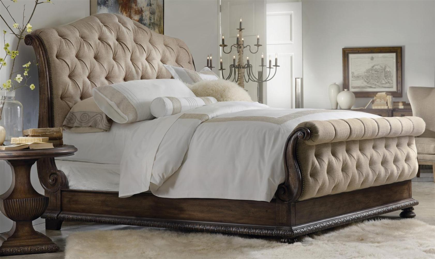 Victiroan Style Bed Made Wooden Brown Color