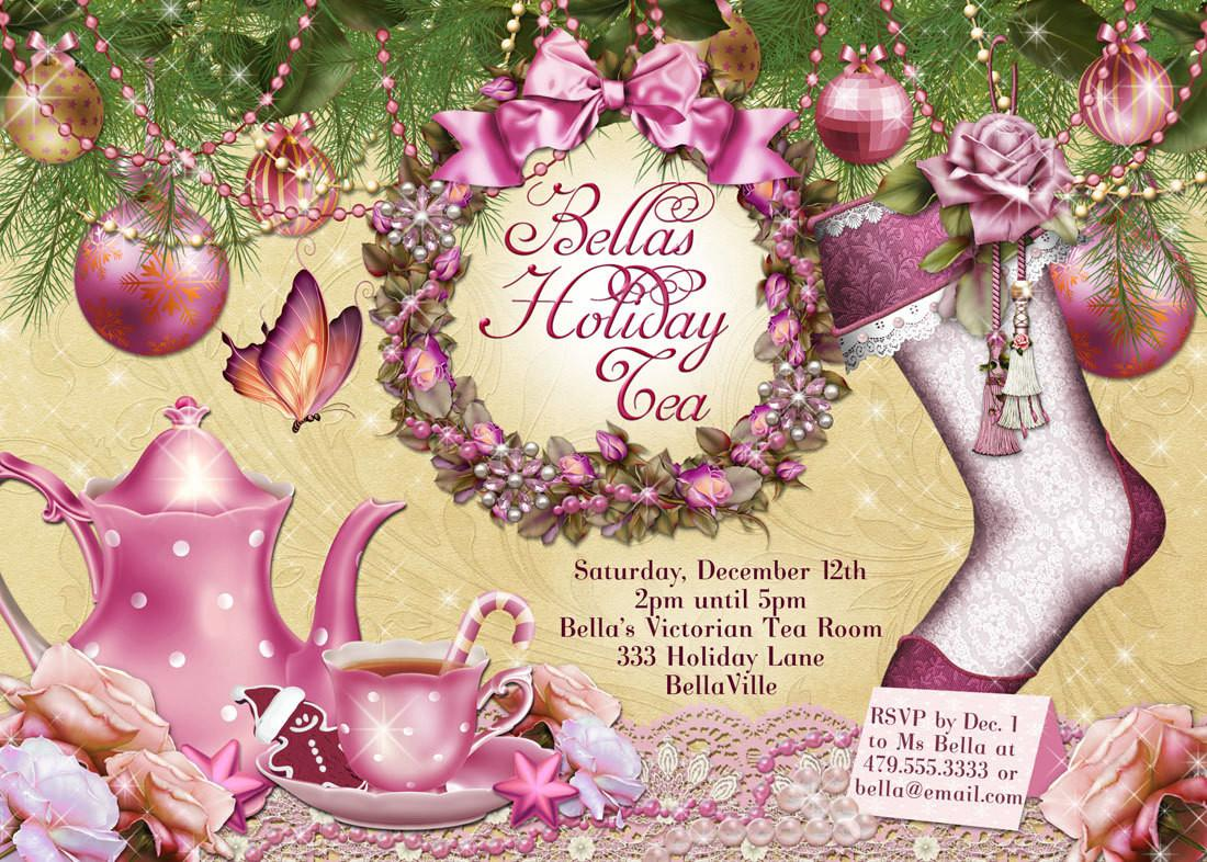 Victorian Christmas Tea Party Invitation Holiday
