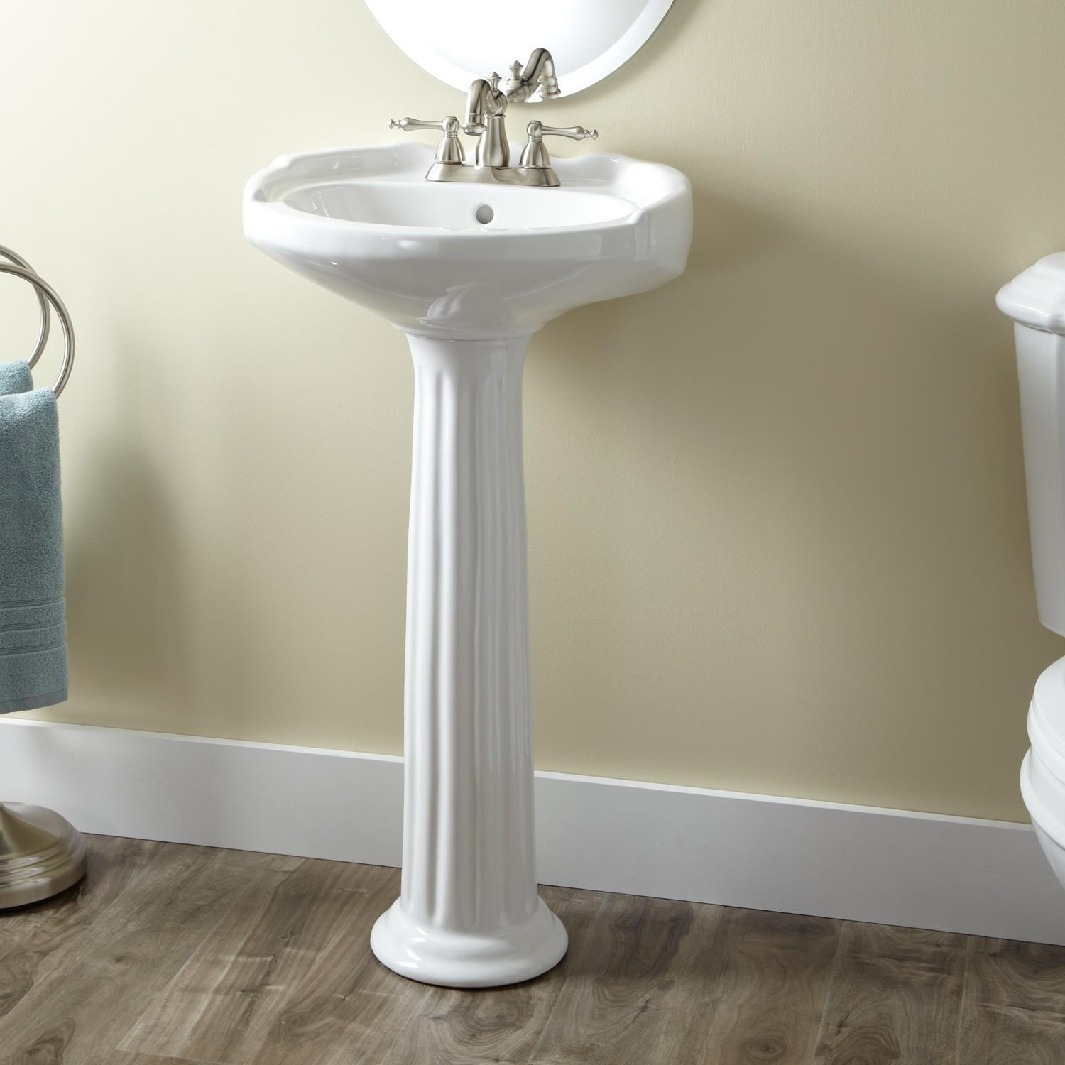 Victorian Medium Porcelain Pedestal Sink Bathroom