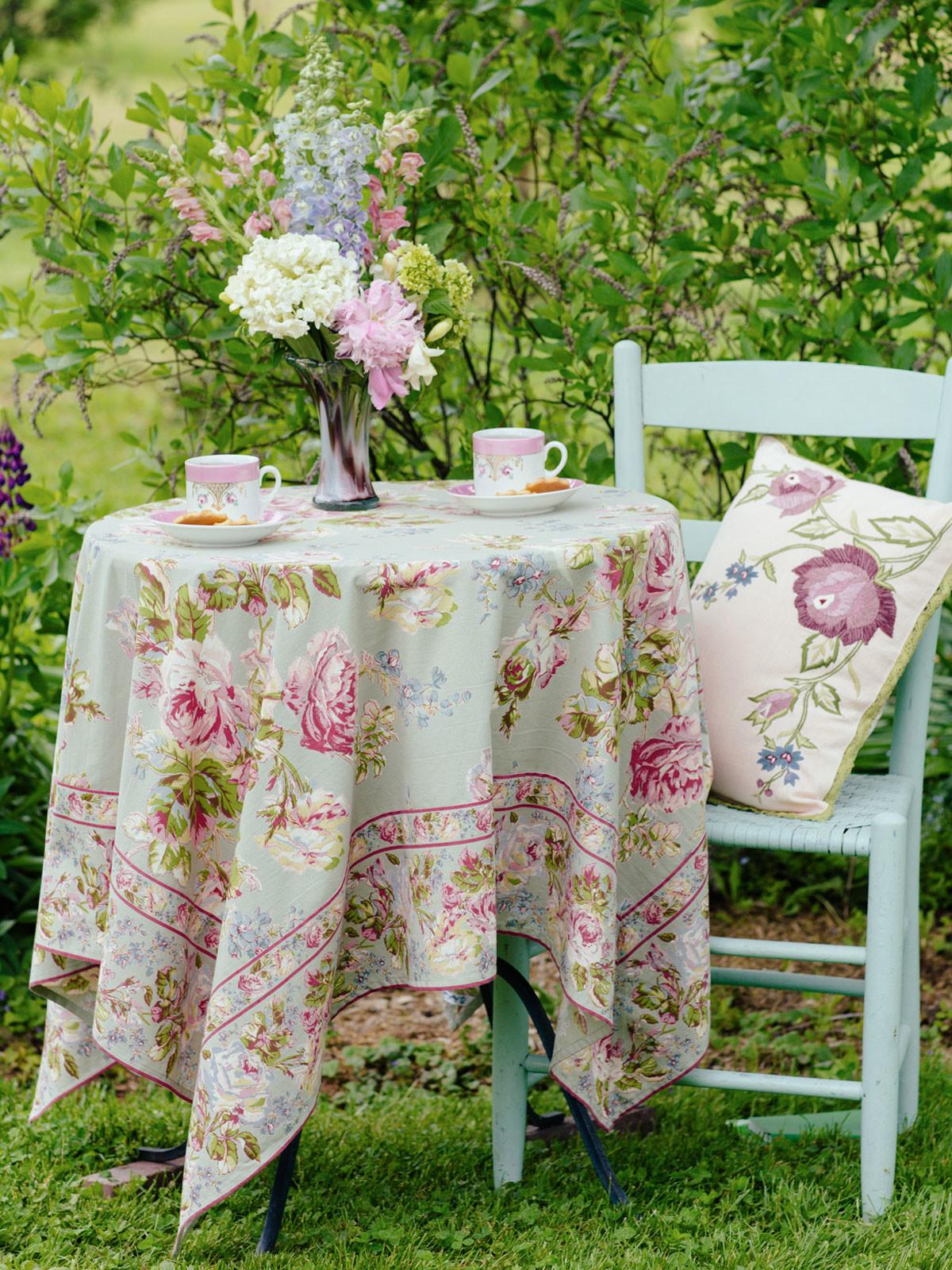 Victorian Rose Tablecloth Sage Table Linens Kitchen