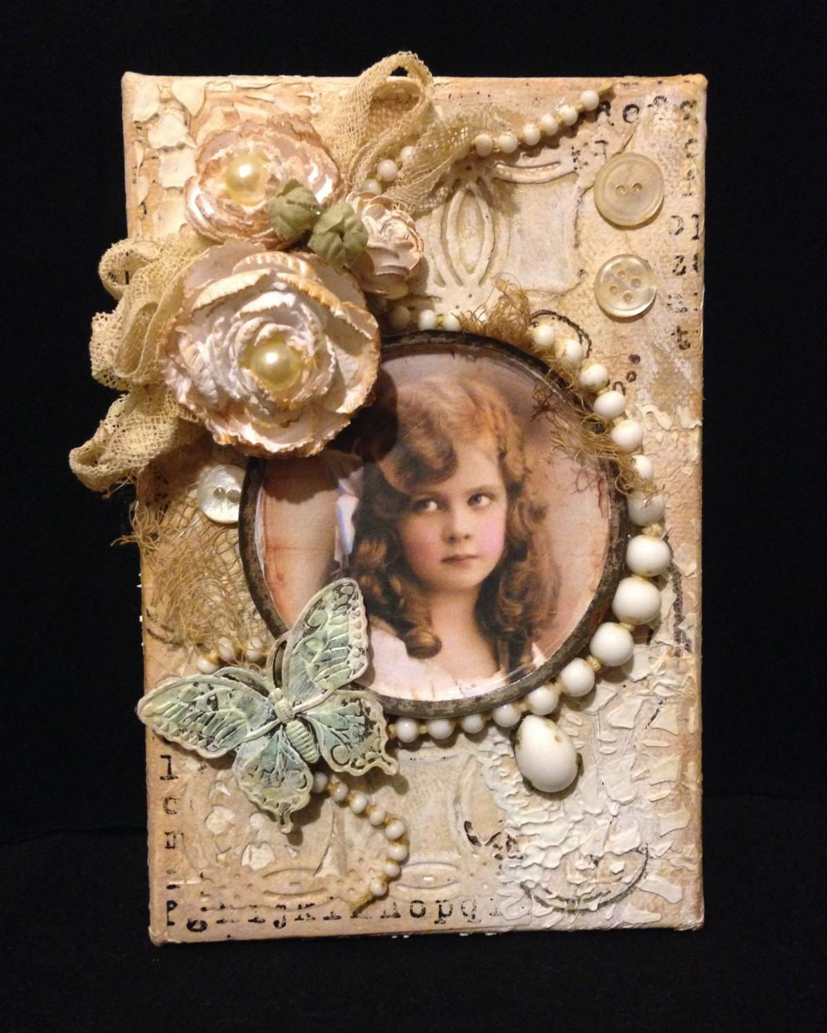 Victorian Style Wall Art Small Textured Mixed Media Collage