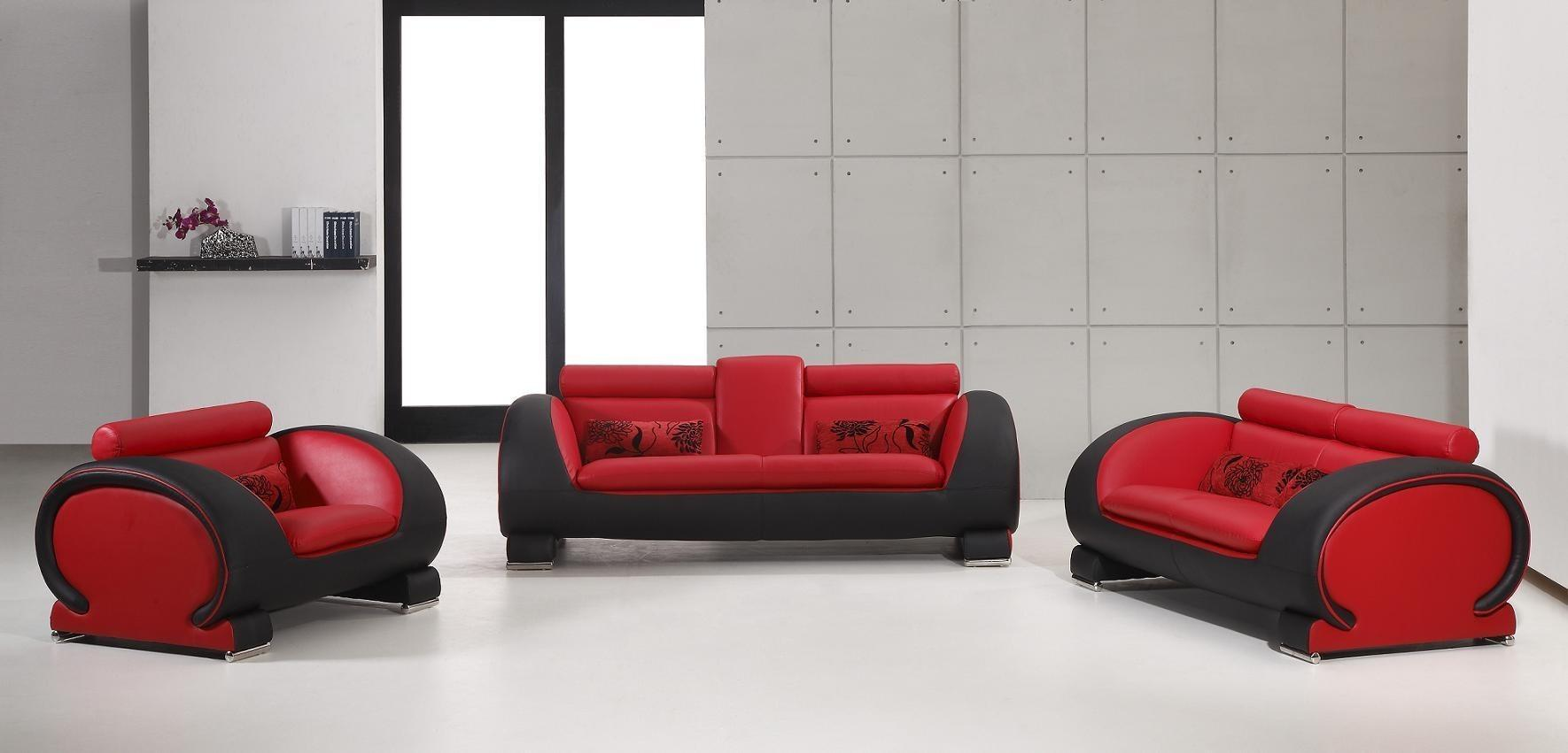 Vig Furniture Contemporary 2811 Red Black Bonded