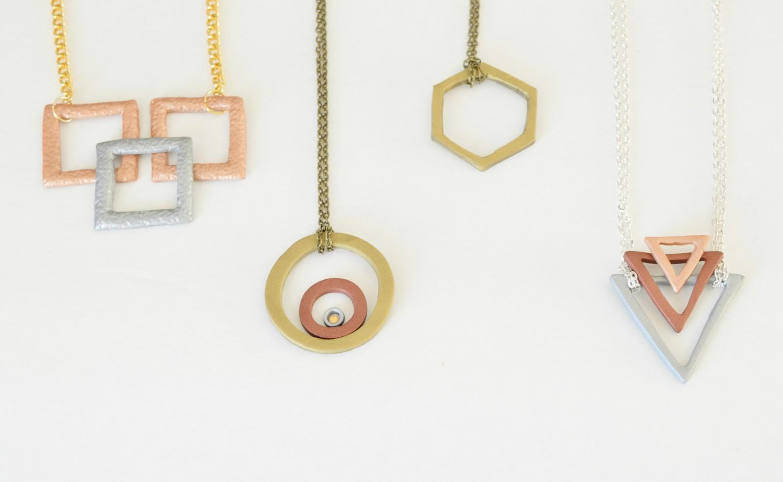 Vikalpah Diy Faux Metal Geometric Necklace Using Clay