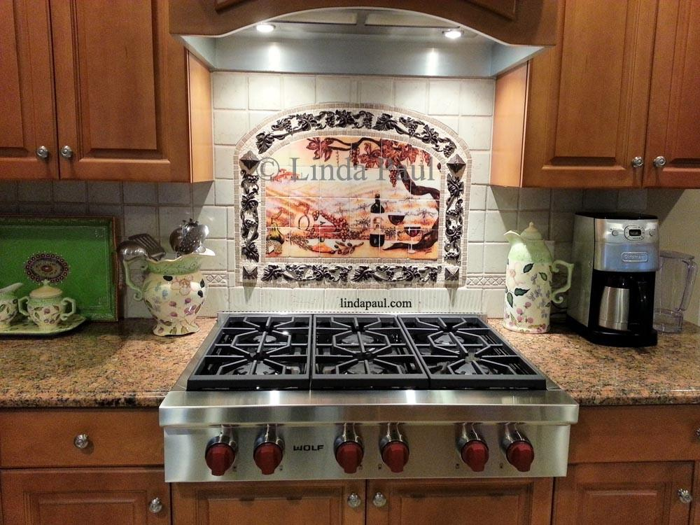 Vineyard Tile Murals Tuscan Wine Tiles Kitchen
