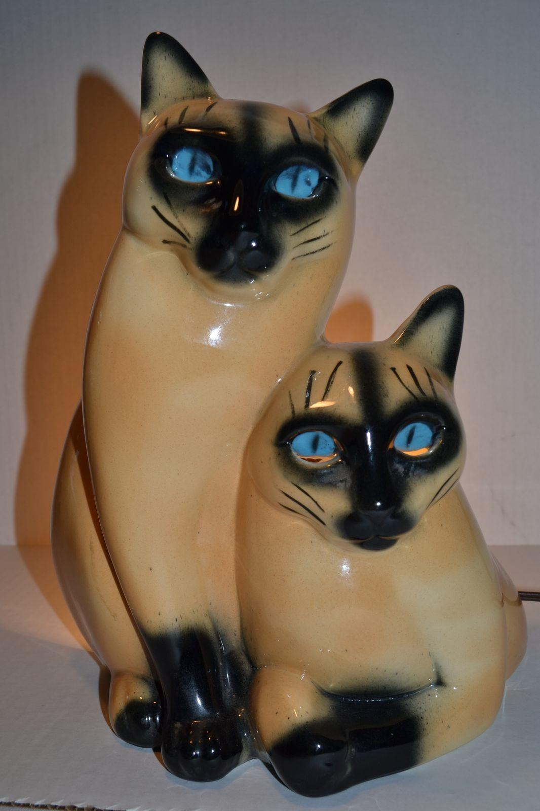 Vintage 1954 Claes Siamese Cat Retro Lamp