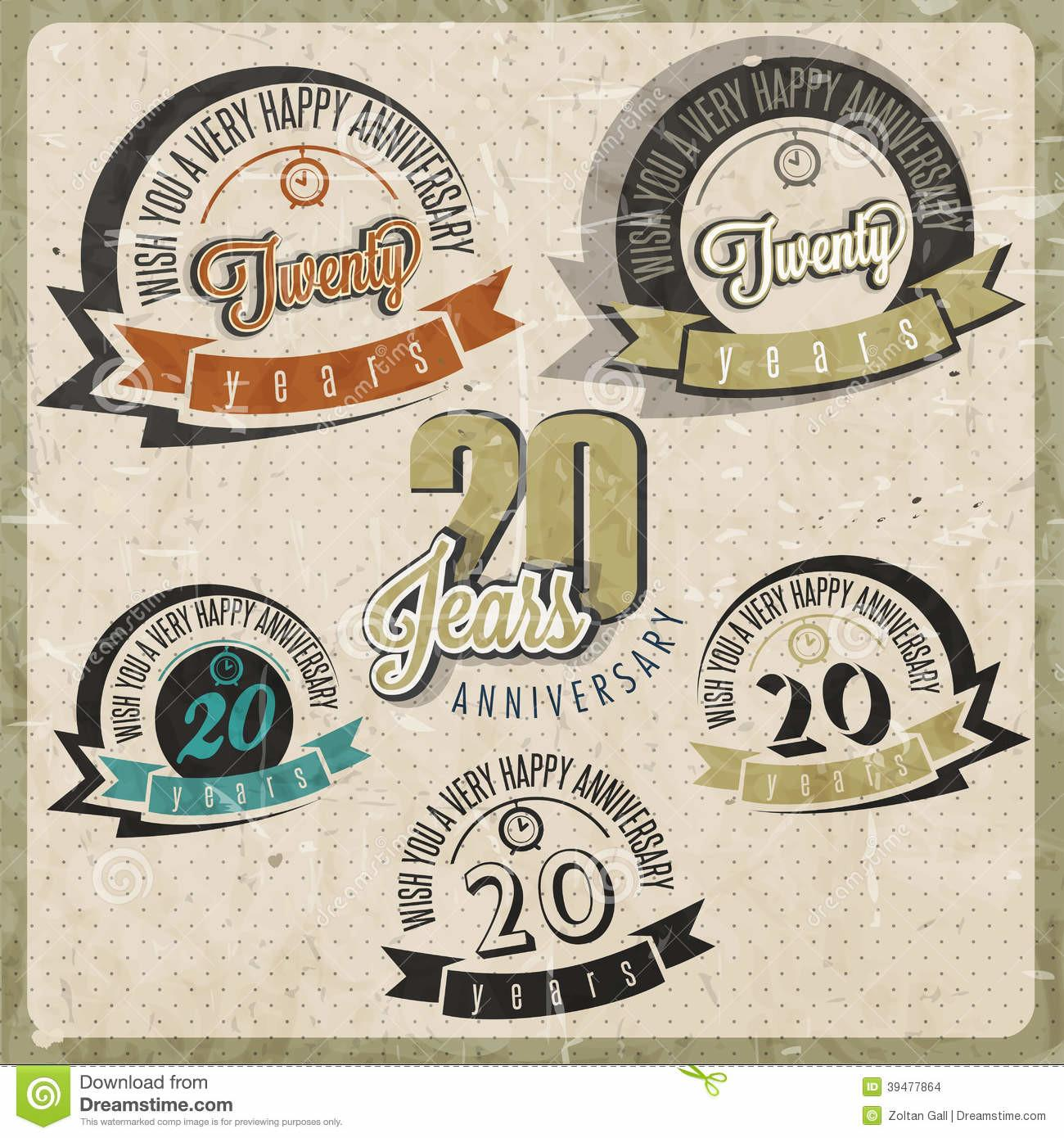 Vintage Anniversary Collection Stock Vector