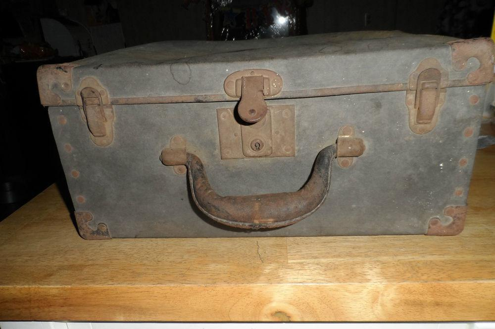 Vintage Antique Metal Tool Box Drawers Leather