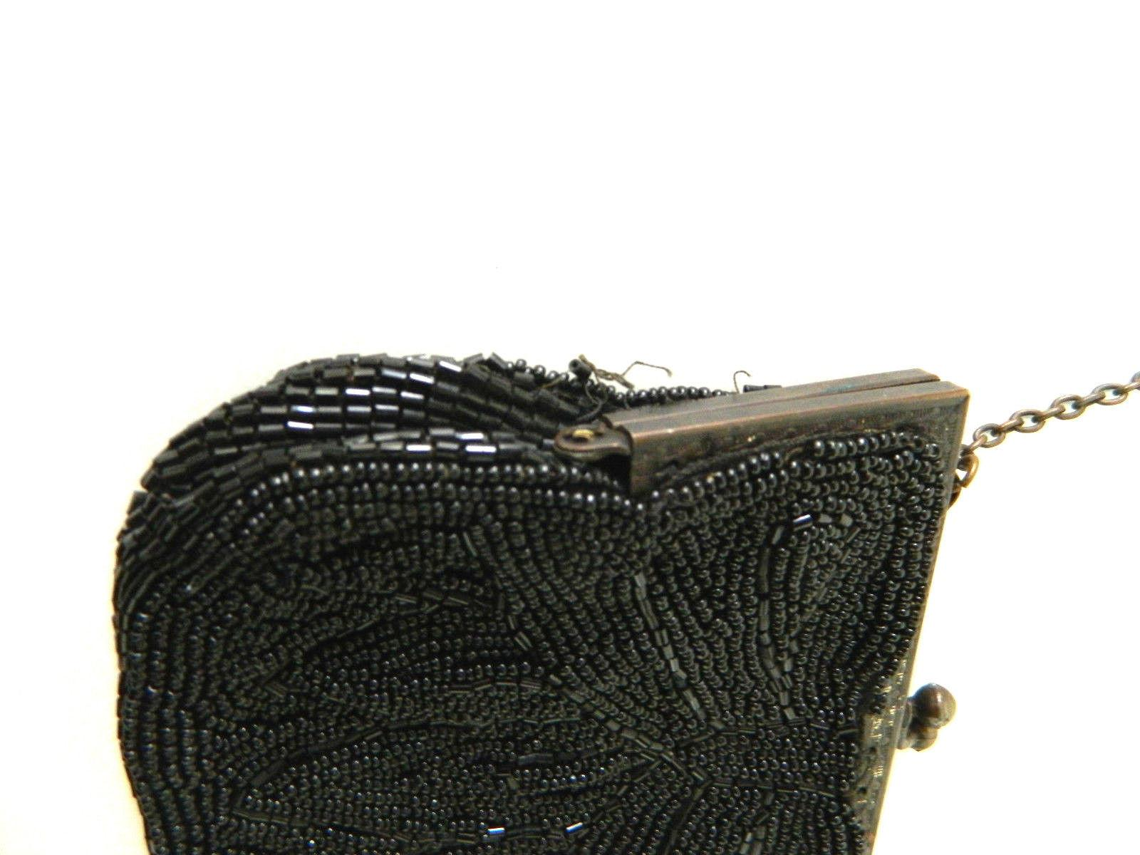 Vintage Black Beaded French Coin Purse Clutch Small Made