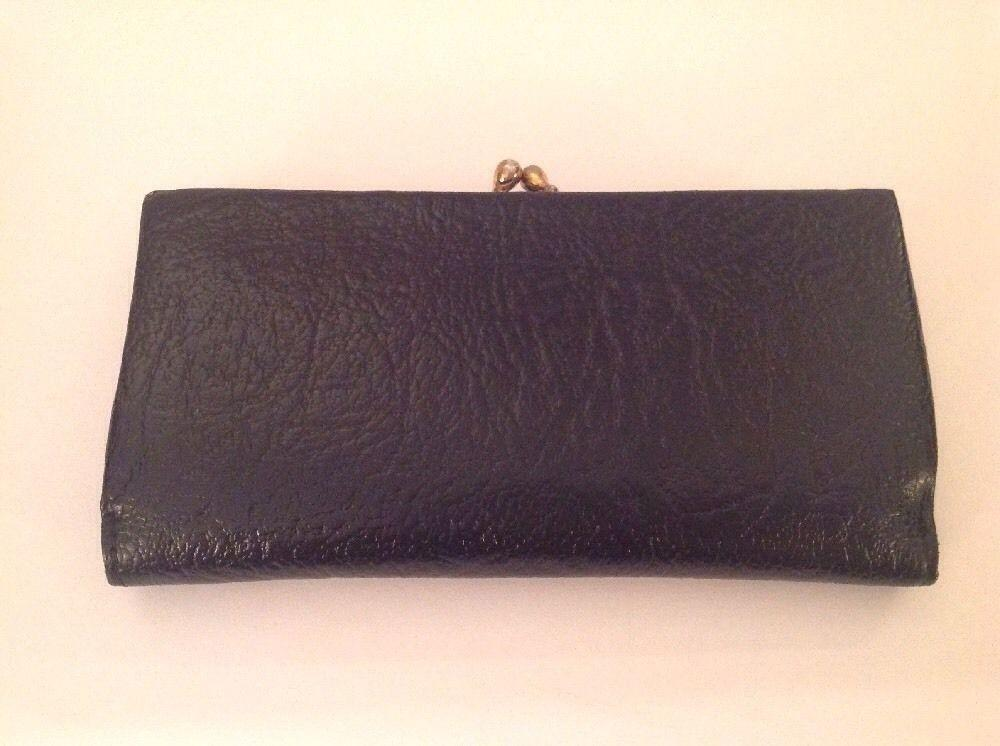 Vintage Black Calf Leather Clutch Wallet Kiss Lock Coin