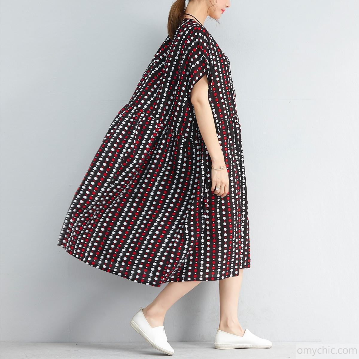 Vintage Black Striped Dotted Linen Shift Dresses Casual