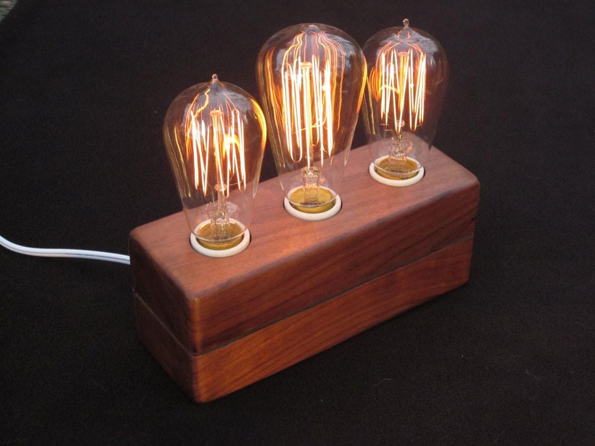 Vintage Bulb Lamp Simple Wooden Base Make