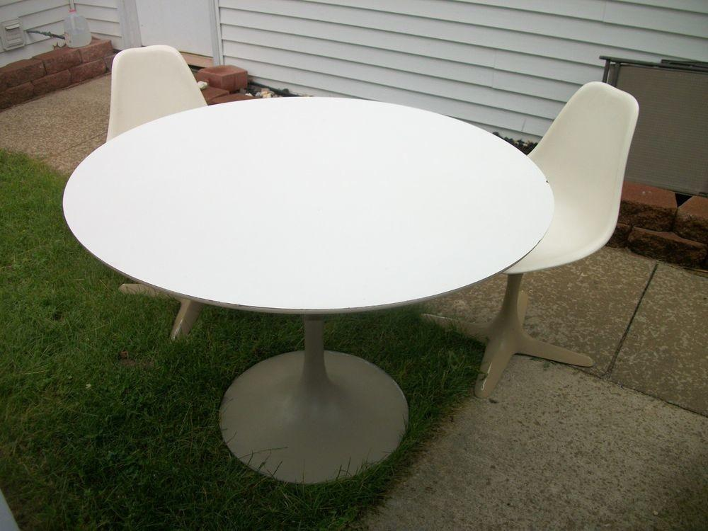 Vintage Burke Dining Set Chairs Tulip Base Table